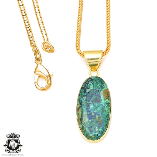 Chrysocolla 24K Gold Plated Pendant 3mm Snake Chain GPH60