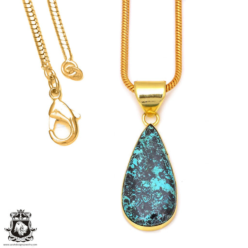 Chrysocolla 24K Gold Plated Pendant 3mm Snake Chain GPH65