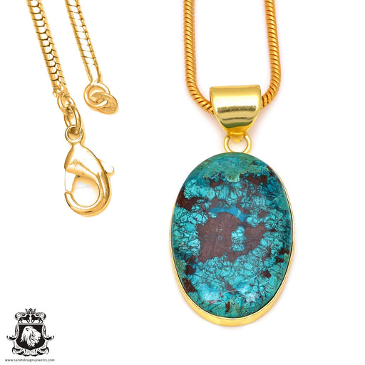 Chrysocolla 24K Gold Plated Pendant 3mm Snake Chain GPH66