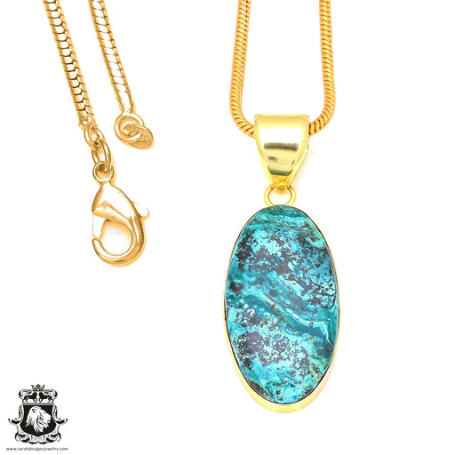 Chrysocolla 24K Gold Plated Pendant 3mm Snake Chain GPH67