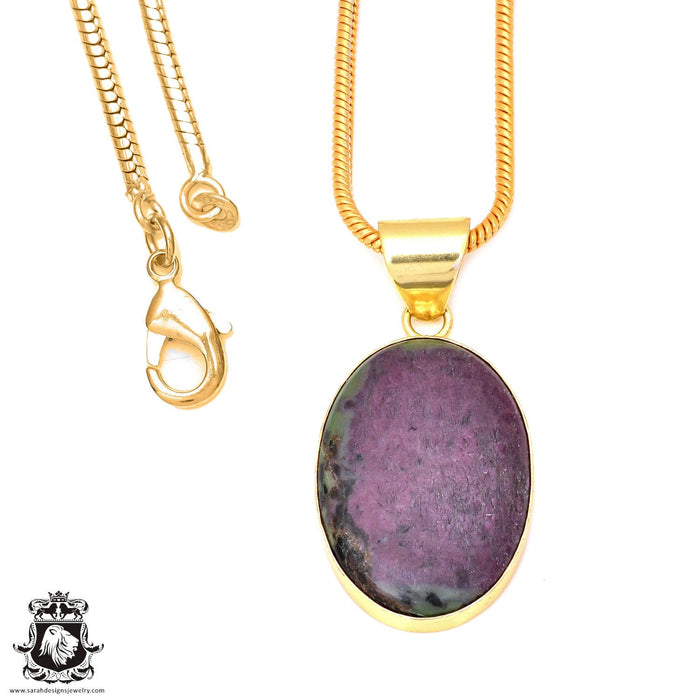 Ruby Zoisite 24K Gold Plated Pendant 3mm Snake Chain GPH91