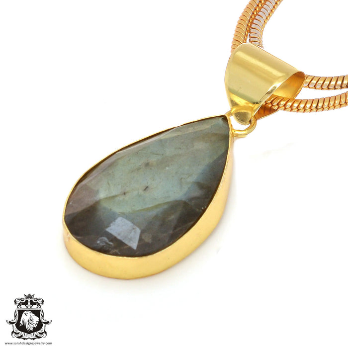 Faceted Labradorite 24K Gold Plated Pendant 3mm Snake Chain GPH108