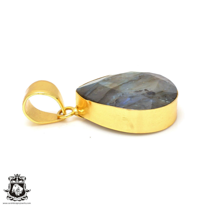 Faceted Labradorite 24K Gold Plated Pendant 3mm Snake Chain GPH114