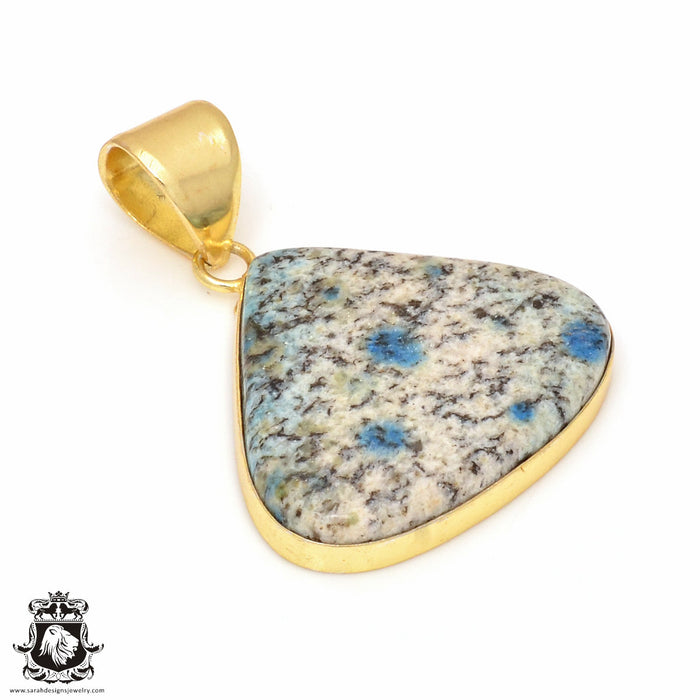 K2 Jasper 24K Gold Plated Pendant 3mm Snake Chain GPH144