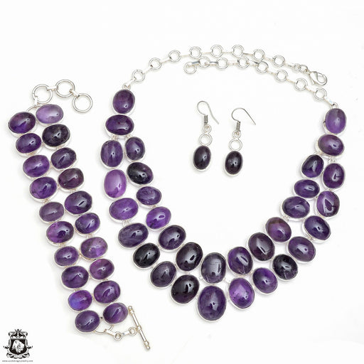 African Amethyst Necklace Bracelet Earrings SET787