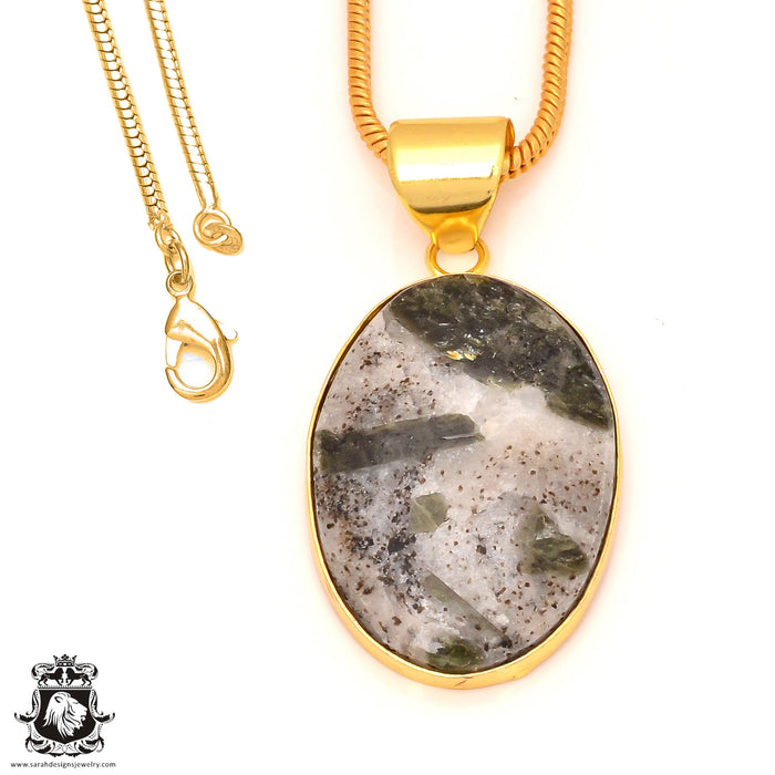 Epidote 24K Gold Plated Pendant 3mm Snake Chain GPH171
