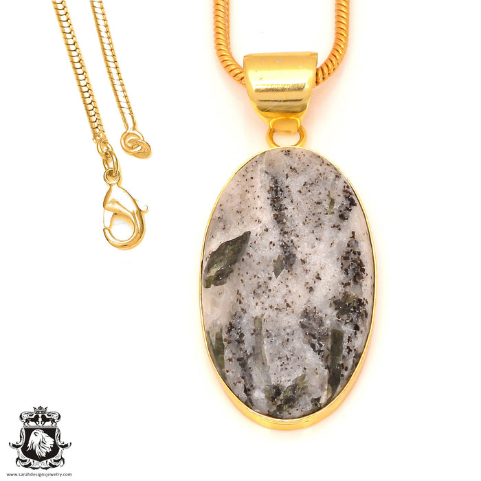 Epidote 24K Gold Plated Pendant 3mm Snake Chain GPH174
