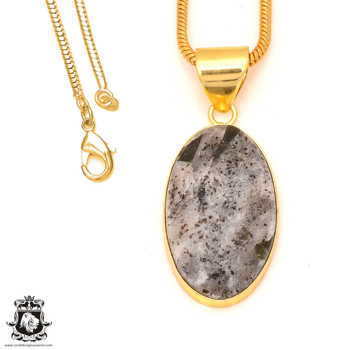 Epidote 24K Gold Plated Pendant 3mm Snake Chain GPH178