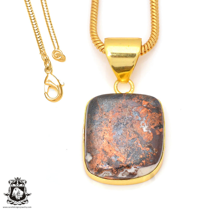 Pyritized Crazy lace Agate 24K Gold Plated Pendant 3mm Snake Chain GPH182