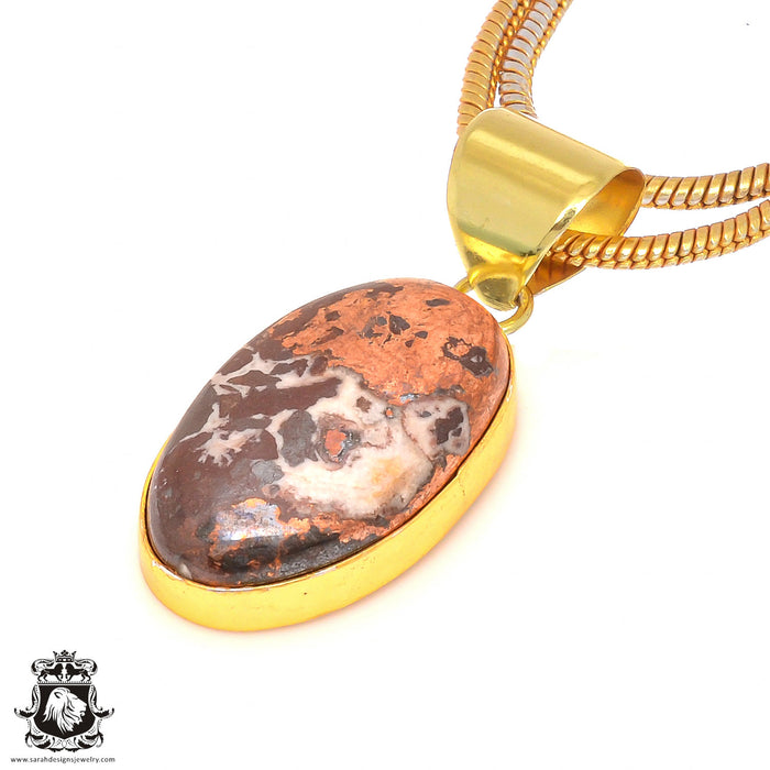 Pyritized Crazy lace Agate 24K Gold Plated Pendant 3mm Snake Chain GPH191
