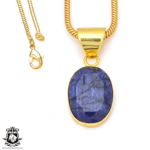 Sapphire 24K Gold Plated Pendant 3mm Snake Chain GPH197