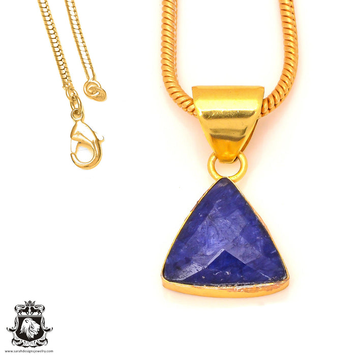 Sapphire 24K Gold Plated Pendant 3mm Snake Chain GPH200