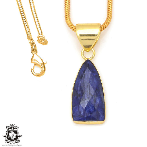 Sapphire 24K Gold Plated Pendant 3mm Snake Chain GPH206