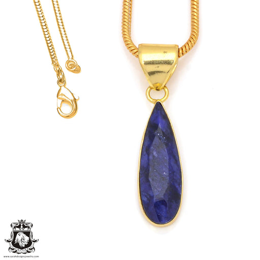 Sapphire 24K Gold Plated Pendant 3mm Snake Chain GPH212