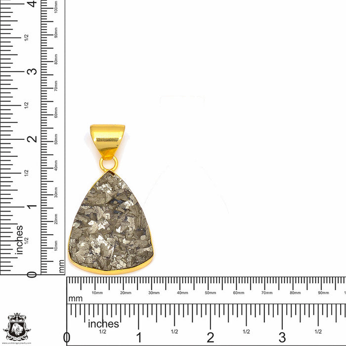 Pyrite 24K Gold Plated Pendant 3mm Snake Chain GPH250