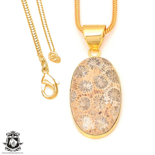 Fossilized Coral 24K Gold Plated Pendant 3mm Snake Chain GPH319