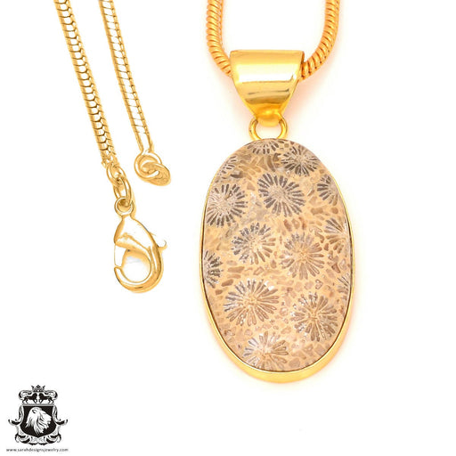 Fossilized Coral 24K Gold Plated Pendant 3mm Snake Chain GPH322