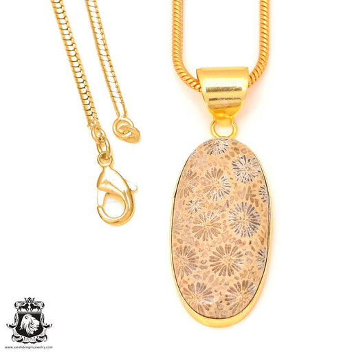 Fossilized Coral 24K Gold Plated Pendant 3mm Snake Chain GPH323