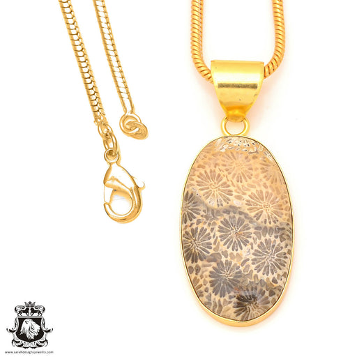 Fossilized Coral 24K Gold Plated Pendant 3mm Snake Chain GPH324