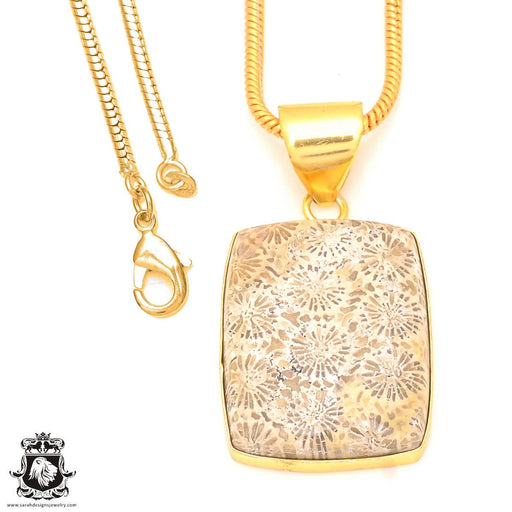 Fossilized Coral 24K Gold Plated Pendant 3mm Snake Chain GPH326