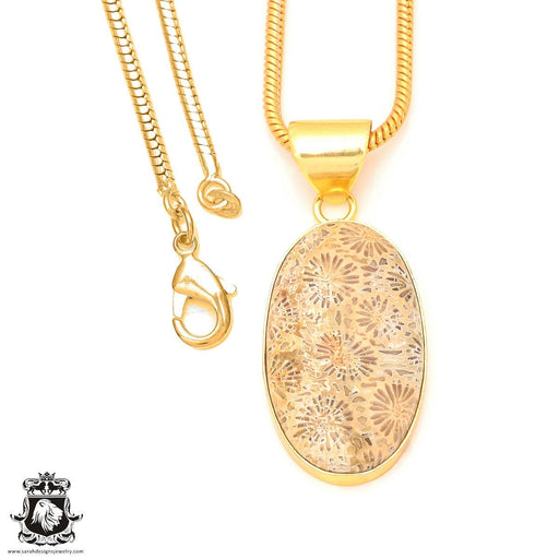 Fossilized Coral 24K Gold Plated Pendant 3mm Snake Chain GPH329