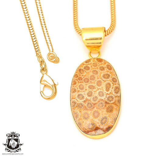 Fossilized Coral 24K Gold Plated Pendant 3mm Snake Chain GPH331