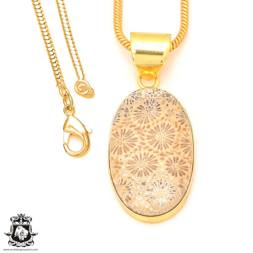Fossilized Coral 24K Gold Plated Pendant 3mm Snake Chain GPH332