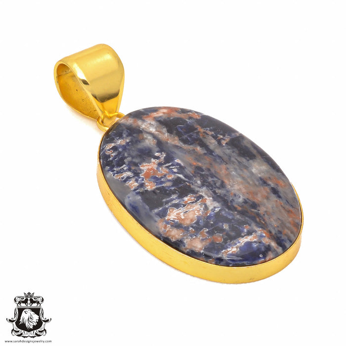 Sodalite 24K Gold Plated Pendant 3mm Snake Chain GPH340