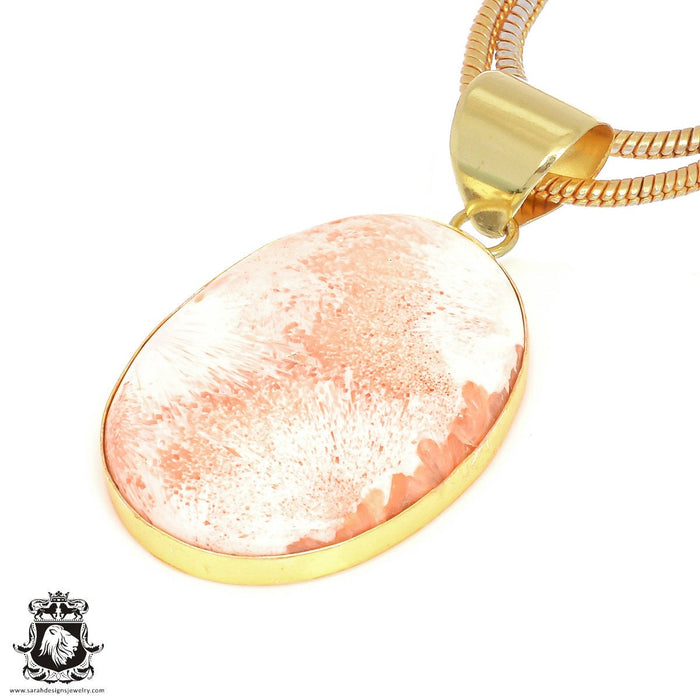Scolecite 24K Gold Plated Pendant 3mm Snake Chain GPH402