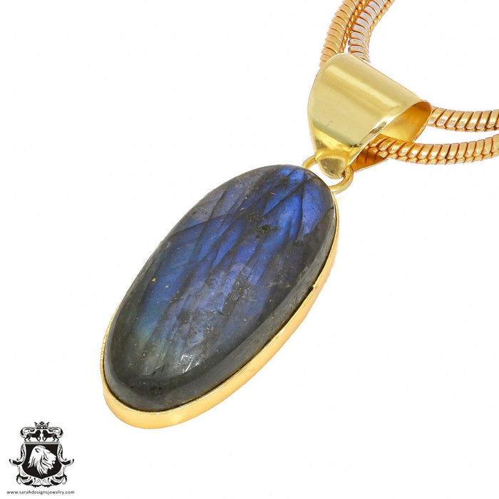 Blue Labradorite 24K Gold Plated Pendant 3mm Snake Chain GPH421