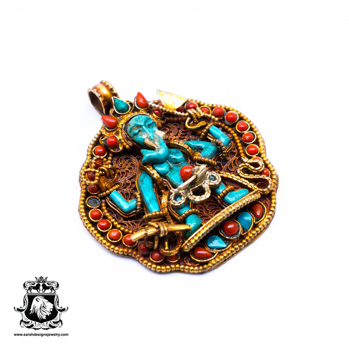 Genuine Turquoise Ganesha Ghau Tibetan Prayer Box Pendant 4MM Chain N71