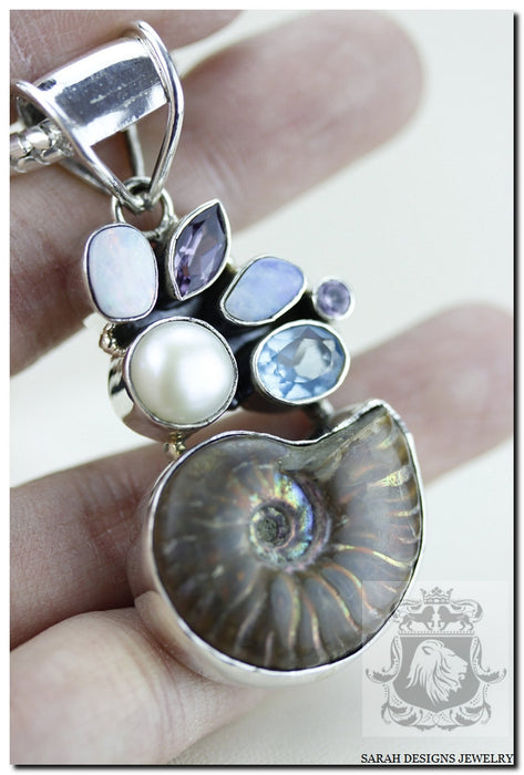 Opal Ammonite Amethyst Blue Topaz Pearl 925 Sterling Silver Pendant 4mm Snake Chain P931