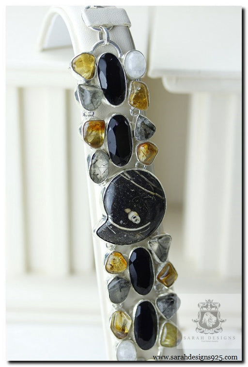 Ammonite Fossil Citrine Tourmalated Quartz Bracelet B1040