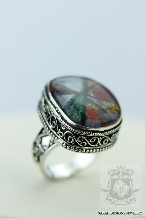 Size 9 Murano Glass Sterling Silver Ring r1857