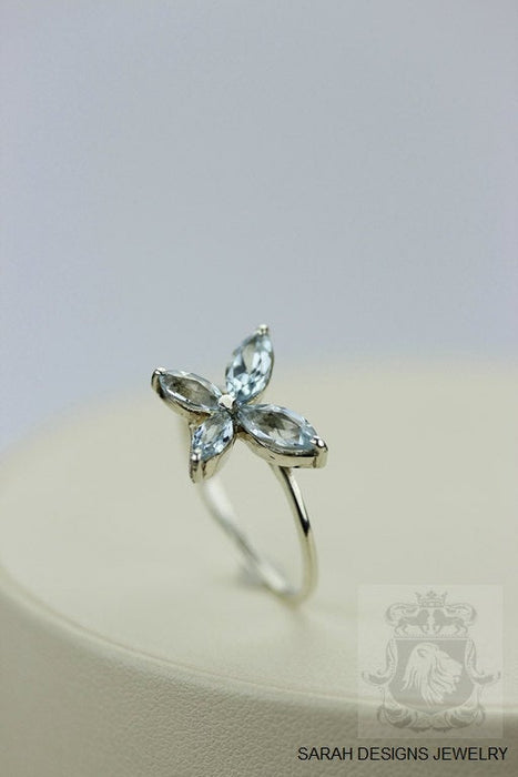 Size 7.5 Aquamarine Sterling Silver Ring r169