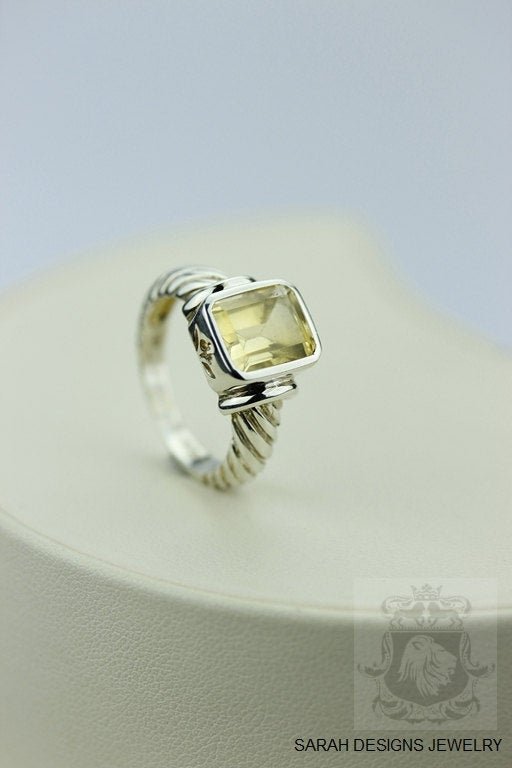 Size 7 Coil SETTING BRAZILIAN CITRINE (Nickel Free) 925 Sterling Silver Ring & Worldwide Express Shipping r294