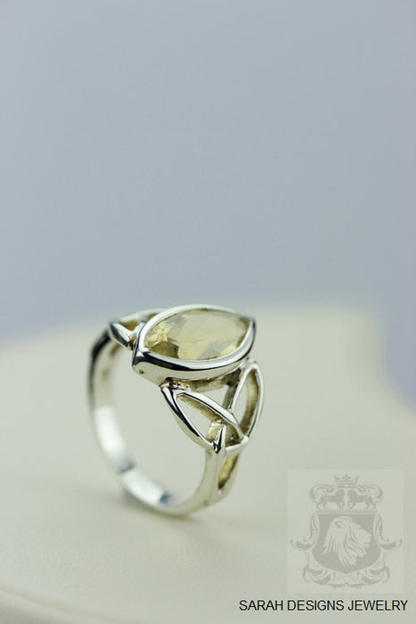 Size 6 Marquise Citrine Sterling Silver Ring r328