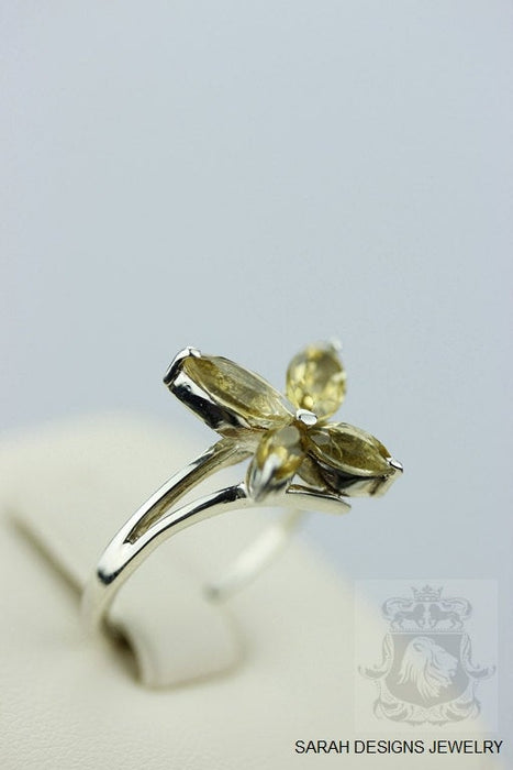 Size 5.5 Citrine Marquise Cut Sterling Silver Ring r348