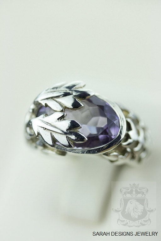 SIZE 5.5 AMETHYST (Nickel Free) 925 Fine S0LID Sterling Silver Ring & Worldwide Express Shipping r474