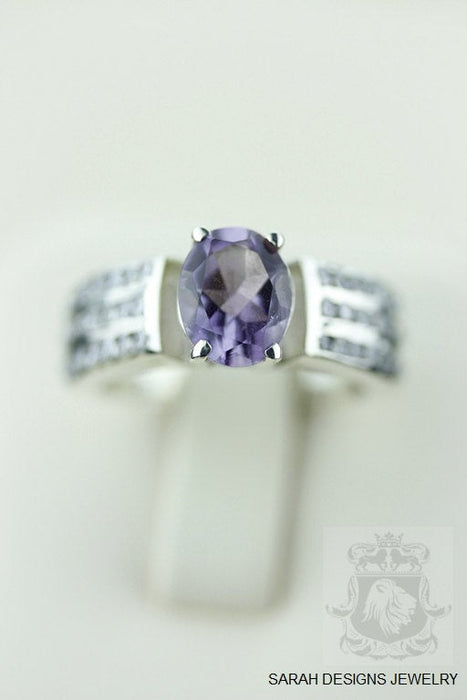 Size 6.5 Amethyst White Topaz Sterling Silver Ring r455