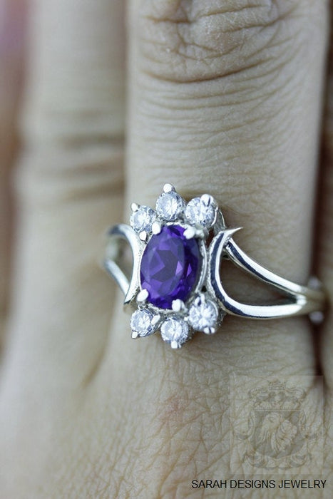 Size 7 Amethyst Sterling Silver Ring r494