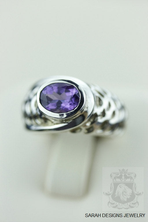 Size 5.5 HAMMERED FINISH AMETHYST (Nickel Free) 925 Fine S0LID Sterling Silver Ring & Worldwide Express Shipping r524