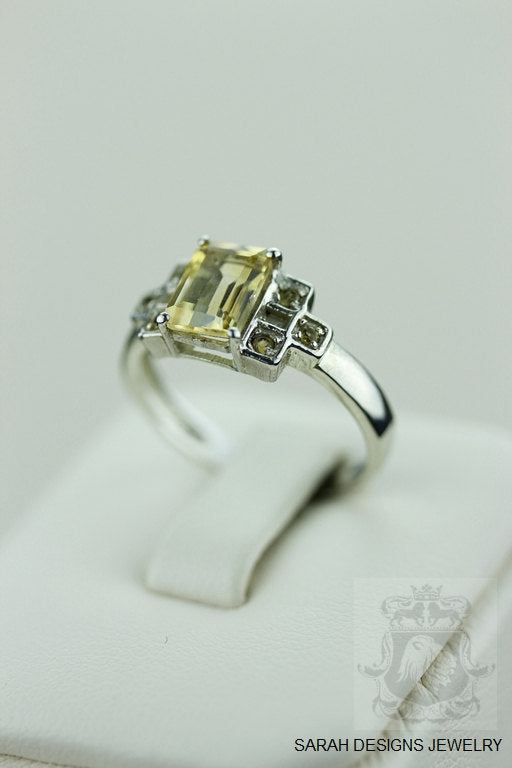 SIZE 7.5 CITRINE FILIGREE (Nickel Free) 925 Fine S0LID Sterling Silver Ring & Worldwide Express Shipping r551