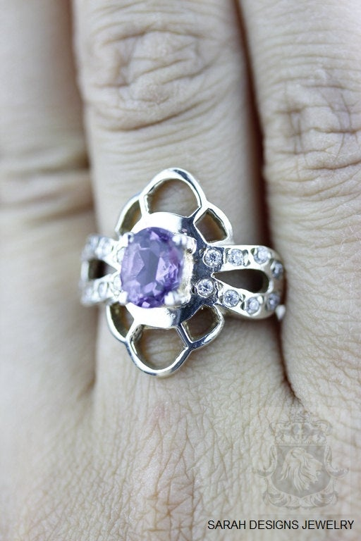 Size 6.5 Amethyst White Topaz Sterling Silver Ring r513