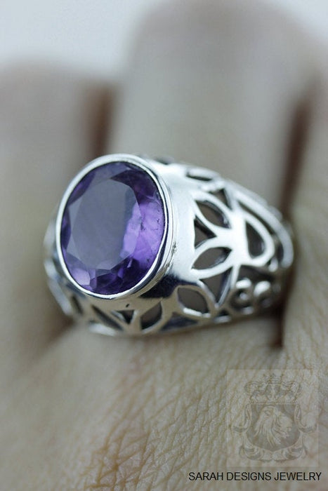 Size 7.5 Amethyst Sterling Silver Ring r571