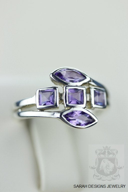 SIZE 5.5 AMETHYST (Nickel Free) 925 Fine S0LID Sterling Silver Ring & Worldwide Express Shipping r759