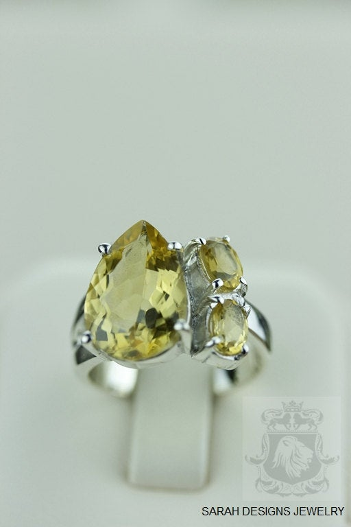 SIZE 6.5 CITRINE 32 CARAT (Nickel Free) 925 Fine S0LID Sterling Silver Ring & Worldwide Express Shipping r921