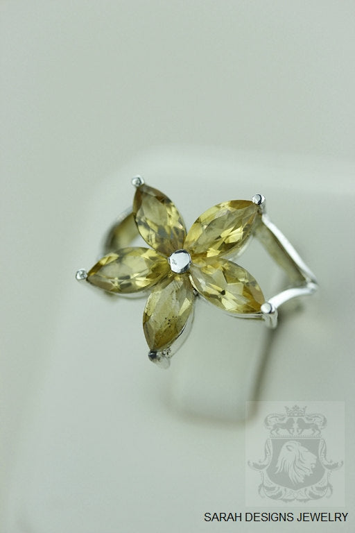 Size 7FLOWER SHAPED CITRINE (Nickel Free) 925 Fine S0LID Sterling Silver Ring & Worldwide Express Shipping r925