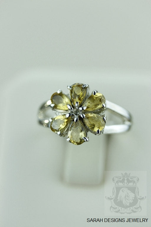 Size 6.5 FLOWER SHAPED CITRINE (Nickel Free) 925 Fine S0LID Sterling Silver Ring & Worldwide Express Shipping r932
