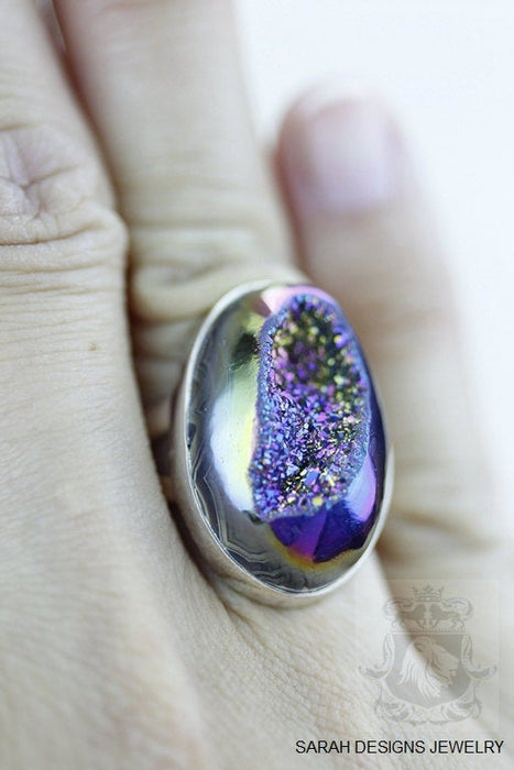 Size 6 Drusy Sterling Silver Ring r1160